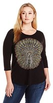 Lucky Brand Women's Plus-Size Embroidered Peacock T-Shirt