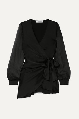 Diane von Furstenberg Klee Satin And Silk-chiffon Wrap Blouse - Black