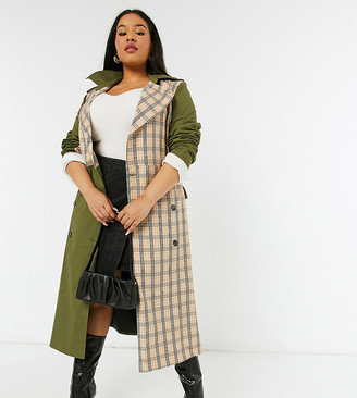 Unique21 Hero mix & match trench in khaki & check