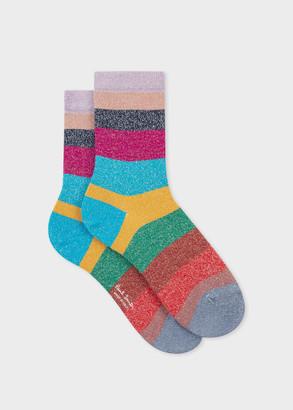 Women's Multi-Coloured Glitter Stripe Socks