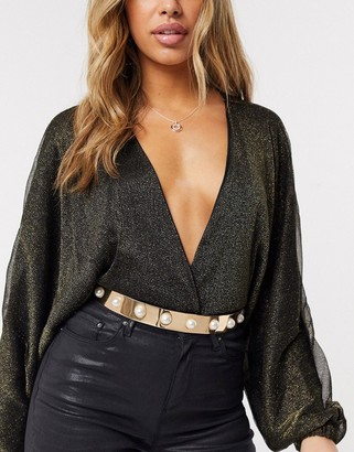 Asos DESIGN gold full metal waist belt in gold with pearl studs