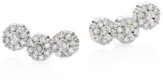 Hueb Flower Diamond & 18K White Gold Ear Climbers