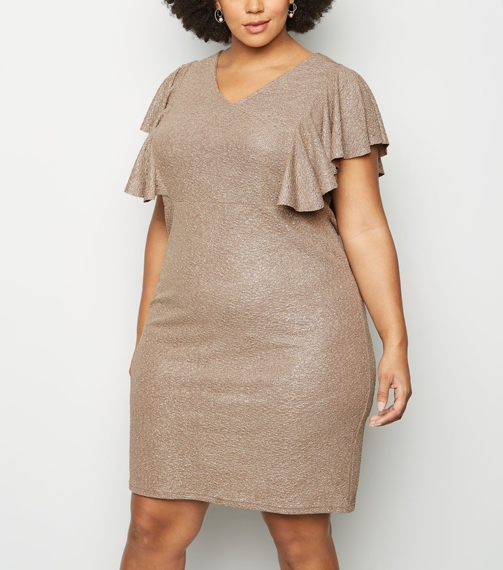 Thumbnail for your product : New Look Blue Vanilla Curves Shimmer Frill Dress