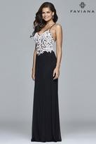 Faviana Lace V-Neck A-Line Dress in Black/Ivory 7934