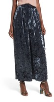 Leith Women's Crop Wide Leg Velour Pants
