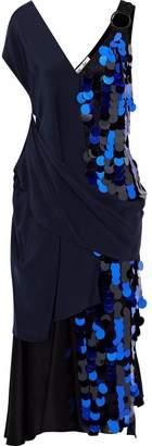 Diane von Furstenberg Draped Satin And Sequined Silk-chiffon Midi Dress