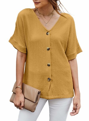 Modasua Women V-Neck Blouse Womens Summer Tops Button Down Short Sleeve Solid Color Loose Tshirt Tunic Tops Shirts Casual Blouses Yellow Tops for Women UK Size 16/18