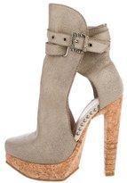 Herve Leger Crackle Platform Ankle Boots
