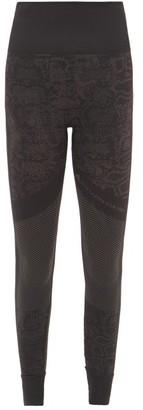 adidas by Stella McCartney Essentials High-rise Snake-jacquard Leggings - Womens - Black Print