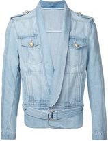 Balmain drape front jacket - men - Cotton - 48