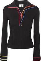 Topshop Striped Stretch-knit Top