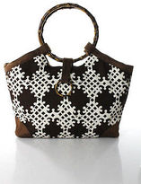 Milly Brown White Canvas Bamboo Handle Tote Handbag