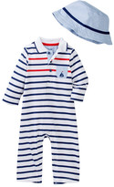 Little Me Sail Stripe Coverall & Hat Set (Baby Boys)