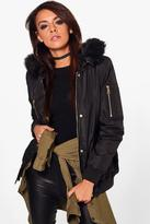 Boohoo Maria Padded MA1 Bomber With Faux Fur Hood