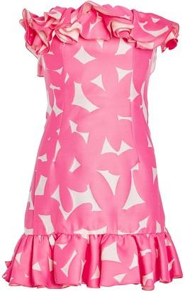 Sara Battaglia Ruffled Strapless Floral Printed Dress