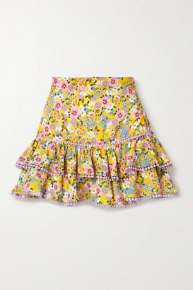 Charo Ruiz Ibiza Fera Crochet-trimmed Ruffled Floral-print Voile Mini Skirt - Yellow
