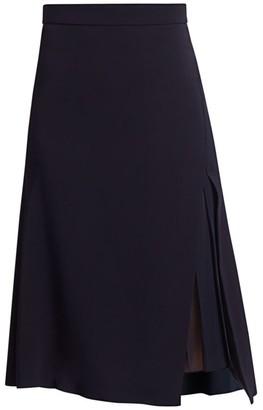 Cushnie High-Waist Pleat Vented Skirt