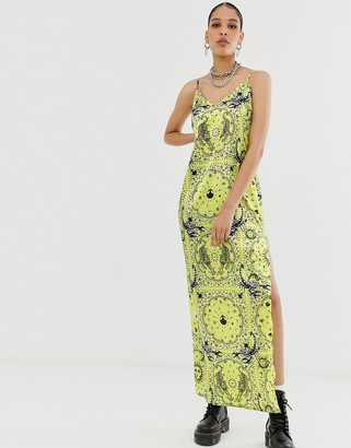 New Girl Order maxi satin slip dress in mixed zodiac print-Yellow