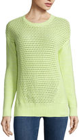 STYLUS Stylus Long-Sleeve Pointelle Textured Sweater - Petite