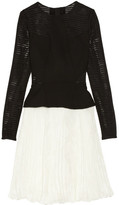 Jason Wu Pleated wool-blend and chiffon peplum dress