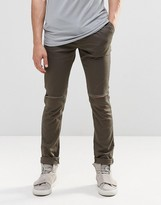 Asos Skinny Cotton Pants With Knee Rip In Dark Khaki