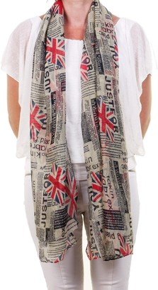 Ladies Scarves Ladies Fashion Scarf Shawl Sarong Pashmina Stole with Union Jack and Newspaper Print. Soft Sheer Lightweight Fabric. Machine Washable.