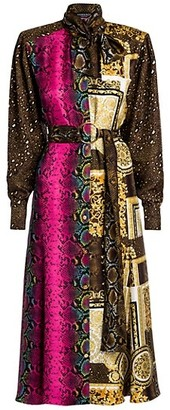 Versace Barocco Patchwork Print Silk Shirtdress