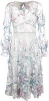 Marchesa floral applique ruffle dress