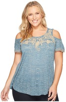 Lucky Brand Plus Size Embroidered Cold Shoulder Top Women's Short Sleeve Pullover