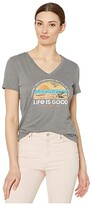 Life is Good Beach List Cool Vee (Slate Gray) Women's Clothing
