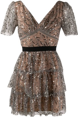 Self-Portrait Sequin-Embellished Cocktail Dress