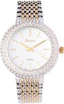 Geneva Platinum Two-Tone Pavé-Bezel Rhinestone Bracelet Watch