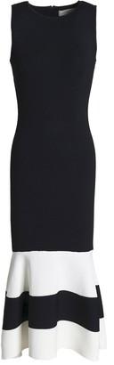 Sachin + Babi Fluted Two-tone Stretch-knit Midi Dress