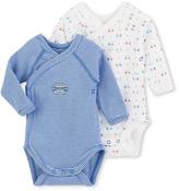 Petit Bateau Set of two newborn baby boys long-sleeved striped/printed bodysuits