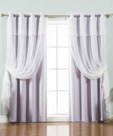 Best Home Fashion Lilac Tulle Valance Blackout Curtain Panel - Set of Four