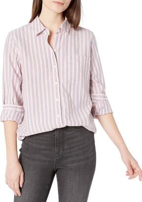 Goodthreads Amazon Brand Women's Seersucker Long Sleeve Button Front Tunic Shirt