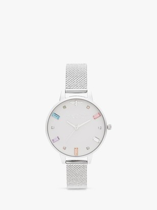 Olivia Burton OB16RB10 Women's Rainbow Bee Bracelet Strap Watch, Silver/White