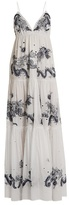 Roberto Cavalli Embroidered tiered-cotton gown