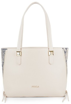Furla Snake-Print Detailed Leather Handbag