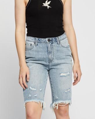One Teaspoon ONETEASPOON - Women's Blue Denim - Cut Off Trucker Shorts - Size 24 at The Iconic