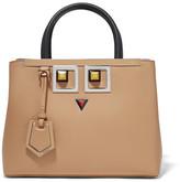 Fendi 2jours Petite Embellished Leather Shopper - Beige