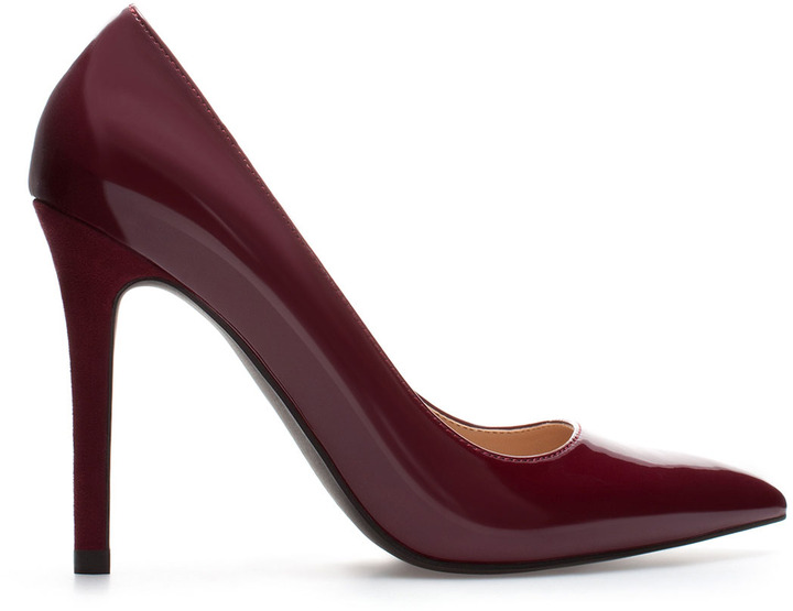 Zara Synthetic Patent Leather High Heel Court Shoe