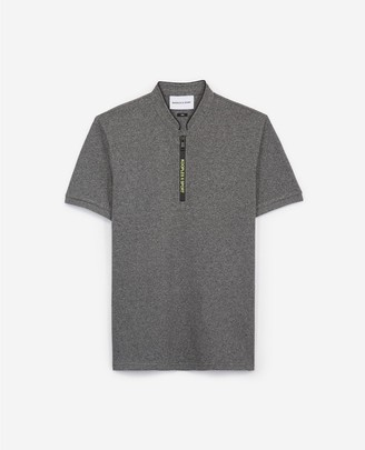 The Kooples Zipped grey polo w/officer collar & neon logo