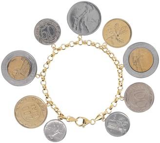 "Italian Gold 7"" Lire Coin Charm Bracelet, 14K"