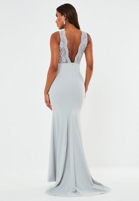 Missguided Gray Lace Insert Low Back Fishtail Maxi Bridesmaid Dress