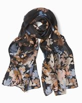 White House Black Market Silk Floral Shadow Stripe Oblong Scarf