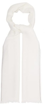 Brunello Cucinelli Monili-trimmed Cashmere-blend Scarf - Womens - White