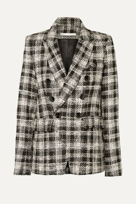 Veronica Beard Miller Dickey Double-breasted Crystal-embellished Checked Tweed Blazer - Black