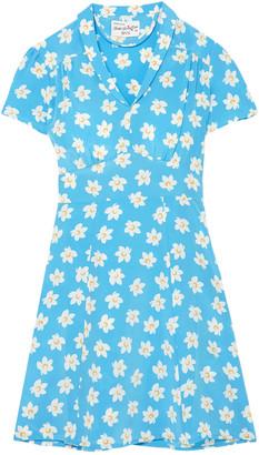 HVN Floral-print Silk Crepe De Chine Mini Dress