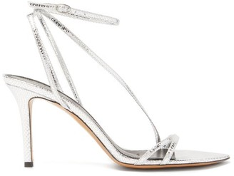 Isabel Marant Axee Snake-effect Metallic-leather Sandals - Womens - Silver